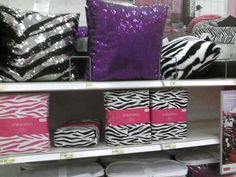 Fun glam pillows & zebra sheets at Target.
