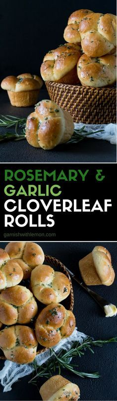 This easy recipe for Homemade Rosemary Garlic Cloverleaf Rolls is a must-have for any special occasion or holiday meal. #buns #rolls #thanksgiving #rosemary #baking #easyentertaining #makeahead #garlic #butter