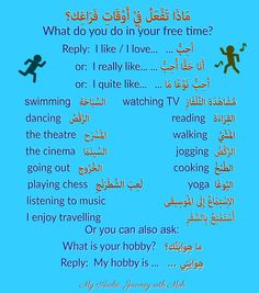What do you do in your free time? Teach Me English, English Lessons For Kids, Quotes Arabic, Arabic Phrases, English Phrases, English Words, Arabic Sentences, Learn Arabic Alphabet, Love Quotes Wallpaper