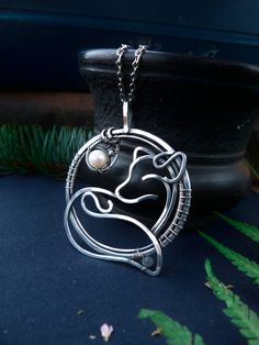 Silver necklace Fox - 999 fine silver jewelry - wire wrapped pendant - gift for women - gift for mom