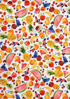 white fruit food fabric Robert Kaufman Metro Market Margaret Berg