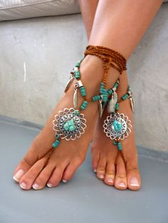 Barefoot sandals is made from ceramic beads, tibetan Silver charms and brown cord . - I SEND 1 PAIR Barefoot sandal with long cord that ties high on Barefoot Beach, Barefoot Shoes, Ankle Jewelry, Body Jewelry, Feet Jewelry, Jewellery, Greek Sandals, Bare Foot Sandals, Shoes Sandals