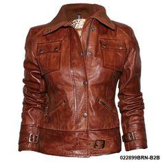 Ladies Tan Waxed Vintage Soft Nappa Real Leather Jacket | eBay