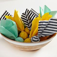 The only penalty at this party is if you forget to take home a favor! Start with colorful tissue paper or thick party napkins, then wrap and fill with fun take-home goodies like cinnamon-roasted nuts or chocolate-covered raisins. A rubber band or twist-tie keeps the treats in place.