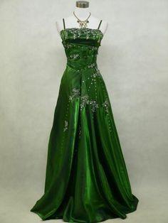 Cherlone Green Long Sparkle Satin Ball Prom Wedding/Evening Gown Dress UK 12-14   eBay