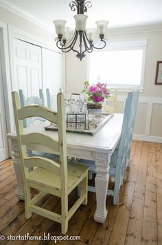 142nd Power of Paint Party Spotlight… I love this dining but I love even more the distressed pine flooring!