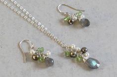 Labradorite, Peridot & Fresh Water Pearl Cluster Sterling Silver Necklace & Earring Set