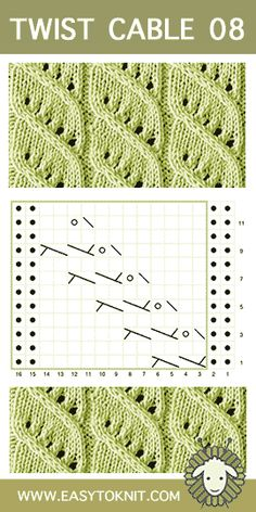 Crochet Design Twist Cable Columns and Twists chart Knitting Stiches, Knitting Charts, Loom Knitting, Sewing Patterns Free, Knitting Patterns, Crochet Patterns, Free Sewing, Crochet Ideas, Moss Stitch