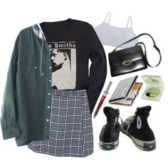 A fashion look from January 2015 featuring Glamorous mini skirts, Converse sneakers and Hermès shoulder bags. Browse and shop related looks.