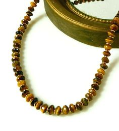 Tiger Eye Necklace Dark Brown Necklace Gold Filled by MsBsDesigns, $124.00