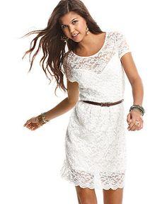 American Rag Juniors Dress, Short Sleeve Belted Lace - Juniors Dresses - Macy's