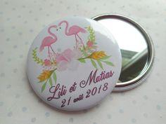 """Grand miroir 56 mm PERSONNALISABLE """"flamengo mariage"""" flament rose, blanc, rose, vert, feuilles, fleurs, mariage : Autres accessoires par miss-coopecoll"""