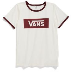 Women's Vans 'Ringer Plus' Crewneck Tee found on Polyvore featuring tops, t-shirts, shirts, blusas, white sand, logo shirts, skate t shirts, vans t shirt, skate shirts and t shirt