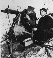 WW2 Norway 1940, Norwegian soldiers manning a M/29 Kongsberg machine gun