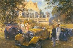 Alan Fearnley, 1942 ~ Retro and Classic Car Car Painting, Painting & Drawing, Painting Canvas, Classic Race Cars, Classic Auto, Mobile Art, Car Drawings, Automotive Art, Retro Cars