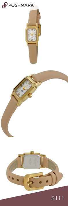 Kate Spade Tiny Hudson MOP Leather Ladies Watch Kate Spade Tiny Hudson MOP Dial Vachetta Leather Ladies Watch 1YRU0637  item# 273078009225  100% Authentic Kate Spade!  Buy with confidence!  • MSRP: $175.00  • Style: 1YRU0637  Features:  Gold-tone metal case with a bluff vachetta leather strap. Fixed gold-tone bezel. Mother of pearl dial with gold-tone hands and index hour markers. Roman numerals mark the 3, 6, 9 and 12 o'clock positions. Dial Type: Analog.  Please feel free to ask any…
