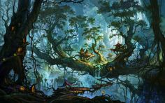 Enchanted Forest Wallpaper | Download Enchanted village on the forest trees wallpaper