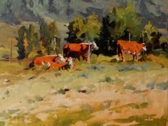 Colorado Ranchland Cow painting by Robin Weiss Original art painting by Robin Weiss - DailyPainters.com