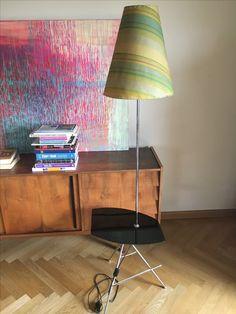 Lampa podłogowa, Polska, lata 70, oryginalny abażur.