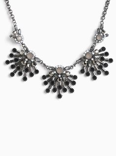 """A really good statement necklace can change a whole outfit for the better...and we think this statement stunner is the one. The chunky hematite chain is totally art-deco chic with black, grey and opaque gemstone clusters.<div><ul><li style=""""list-style-position: inside !important; list-style-type: disc !important"""">Lobster clasp</li><li style=""""list-style-position: inside !important; list-style-type: disc !important"""">18"""" long ..."""