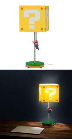 Super Mario Question Block Lamp Video Game Bedroom, Video Game Rooms, Video Game Decor, Video Games, Nerd Room, Gamer Room, Game Room Decor, Room Setup, Boys Game Room