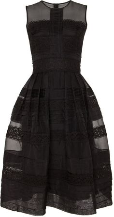Temperley London Black Pleats and Lace Dress