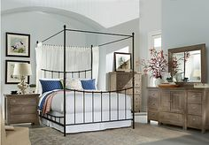 picture of Summer Grove Gray 6 Pc King Canopy Bedroom  from King Bedroom Sets Furniture