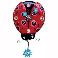 Dotted Ladybug Clock Art by Allen Designs