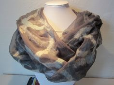 Scarf - silk chiffon and merino