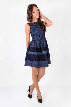 vestido casual elegante azul marino - Buscar con Google