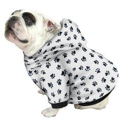 English Bulldog Hoodie Sweatshirt - Black Paw Print