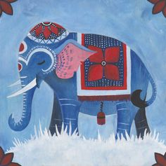 Original Painting - Blue Elephant - by Savannah Mitchell