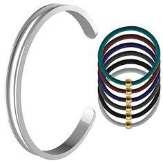 Womens Stainless Steel Grooved Bangle Hair Tie Bracelet