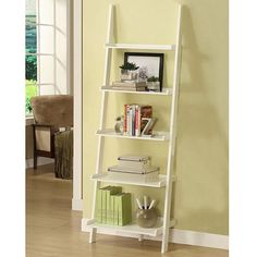 Leaning Bookshelf. $82 at Overstock.com (http://www.overstock.com/Home-Garden/White-Five-tier-Leaning-Ladder-Shelf/5274131/product.html)