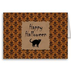 Happy Halloween Damask With Black Cat Cards