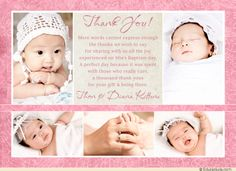 Collage Floral Baptism Thank You Cards - Photos Rosy Pink & Cream Colored Baby Girl