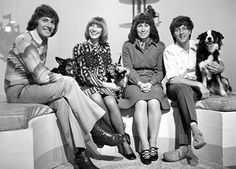Children's TV show Blue Peter in 1972 (from left) Peter Purves, Lesley Judd, Valerie Singleton and John Noakes with his dog 'Shep' Robert Frank, Serge Gainsbourg, 1970s Childhood, My Childhood Memories, Childhood Images, Blue Peter Presenters, Barry Gibb, Love Actually, Artists
