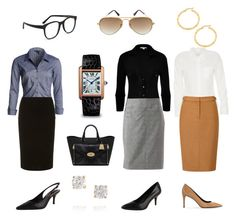 """Classic work wardrobe - claire underwood"" by puremoxy-by-cathy ❤ liked on Polyvore featuring James Perse, 212 Collection, NIC+ZOE, Dorothy Perkins, Viyella, Calvin Klein, MANGO, Mulberry, Cartier and Anita Ko"
