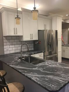 Dark Granite Kitchen Countertops Inspirational Beautiful Black forest Leathered Granite Countertops by Dark Granite Kitchen, White Granite Countertops, Outdoor Kitchen Countertops, Kitchen Black, Kitchen Counters, Concrete Countertops, Kitchen Flooring, Kitchen Dining, Dining Room