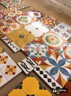 Handmade Tiles From Athangudi Tile Factory Karaikudi . Floor And Wall Granite Flooring Stone Floor Design . Home and Family Indian Home Design, Indian Home Decor, Handmade Tiles, Handmade Home Decor, Chettinad House, Bathroom Tile Designs, Indian Homes, Cool House Designs, Floor Design