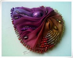 bead embroidery, ombre brooch