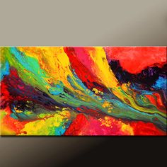 Chasing Rainbows - Abstract Canvas Art Painting Huge 60x30 Contemporary by wostudios, $399.00