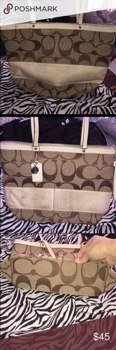 Coach Purse Beige & White Coach Medium Purse has been used OBVIOUSLY, some stains in the FRONT (see pic, kids I tell ya' :P ) I tried cleaning & has been unsuccessful.  IF YOU DONT MIND AND/or CAN CLEAN THIS PURSE!!   This purse IS FOR YOU! It still has a lot of life to it.  Bottom & inside of purse is still clean & amazing   Smoke & Pet Free home Has been in storage  Cleaning out my closet! Although I love this purse it's time to let go!!   AUTHENTIC vintage coach signature purse Coach Bags…