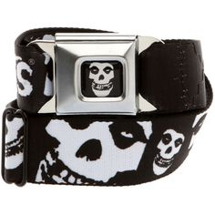 Belts / Buckles   Accessories ($23) ❤ liked on Polyvore featuring accessories, belts, misfits, skull belt, logo belts, buckle belt and skull buckle belt
