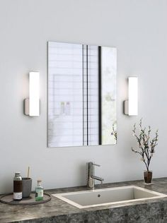 With two distinct finishes, several sizing options, and the ability to be installed in two directions - horizontal and vertical - the Dals LED Vanity Square Glass by Dals is a minimalist design that allows you to express your style however you choose. The LED offers a bright glow that is perfect for bathroom vanity settings. Your morning and nightly routine will drastically change for the better with the Dals LED Vanity Square Glass. Bathroom Sconce Lighting, Contemporary Bathroom Lighting, Bathroom Sconces, Bathroom Light Fixtures, Wall Sconce Lighting, Wall Sconces, Master Bathroom, Bathroom Ideas, Led Step Lights