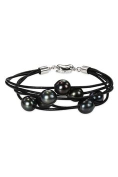 8mm-9mm Tahitian Pearl 5-Strand Cord Bracelet In Black