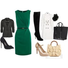 i have the green dress, white jacket, black heels and black purse. i should wear them all together!