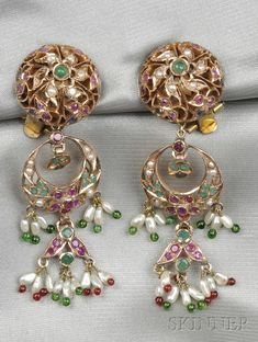 14kt Rose Gold Gem-set Earpendants, India, each of bombe form, suspending removable fancy-shaped drops set with circular-cut rubies, sapphires, and emeralds, further set with seed pearls and freshwater pearl and colored glass bead fringe, 19.8 dwt, lg. 2 3/4 in.