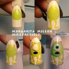 Monstruos S.A Cartoon Nail Designs, Cute Nail Art Designs, Disney Acrylic Nails, Disney Nails, Rose Gold Nails, Pink Nails, Monster Inc Nails, Sculpted Gel Nails, Queen Nails