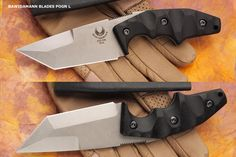 Bawidamann Blades: POGN L. Blade length 3 5/8 in. Steel S35VN. Handles G10/ Micarta/ Carbon Fiber. Overall length 8 in. Sheath Kydex.